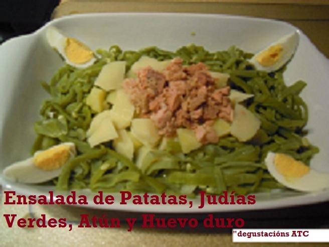 Ensalada de Patatas, Judías Verdes, Atún y Huevo duro